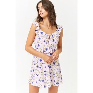Forever 21 Floral Ruffle-Trim Mini Dress